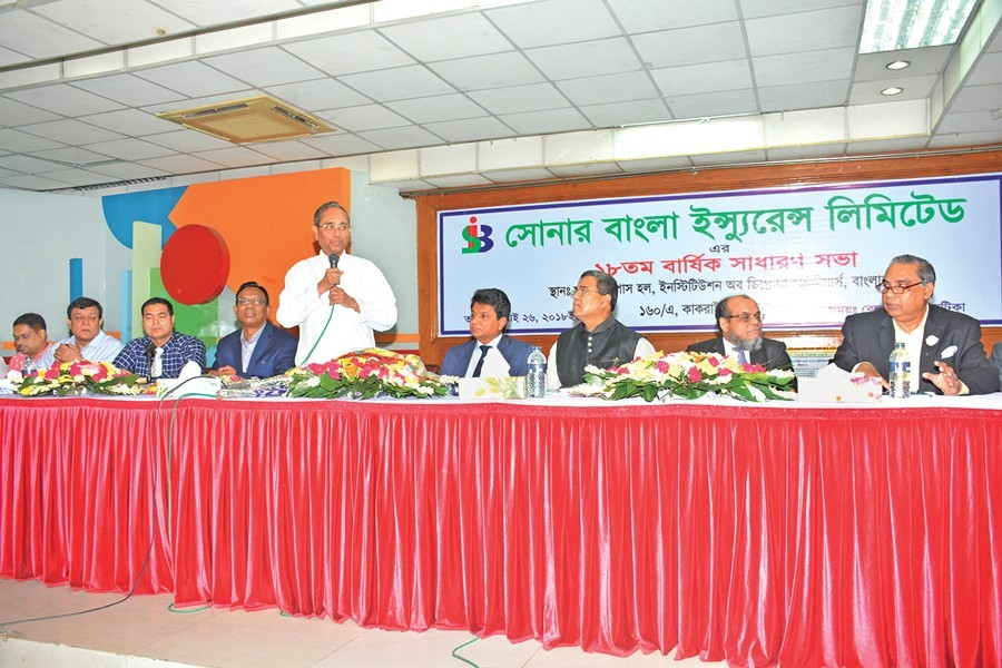 Chairman of Sonar Bangla Insurance Limited Sheikh Kabir Hossain addressing the 18th AGM of the company in the city recently