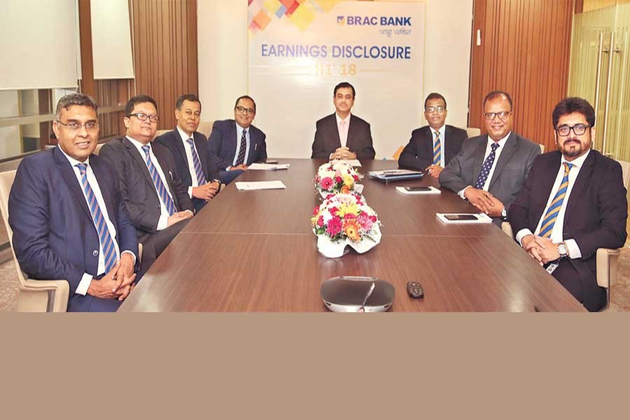 Managing Director & CEO of BRAC Bank Limited Selim R. F. Hussain and the bank's senior executives seen at the half-yearly financial results announcement programme in the capital on Wednesday