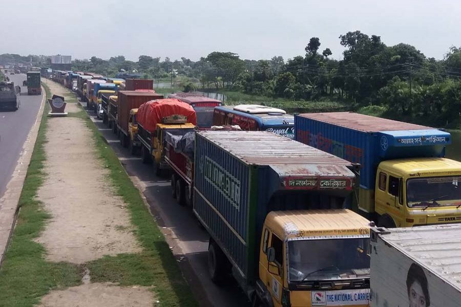 A 13-km-long traffic gridlock forms over Dhaka-Chattogram highway