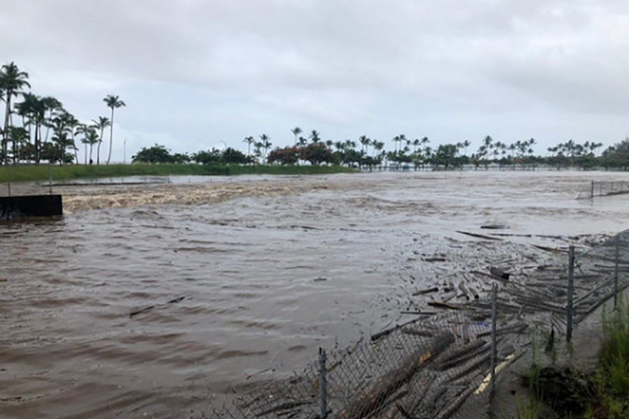 a general view shows heavy flooding affecting Hilo, Hawaii, US on Thursday — Social media photo via Reuters