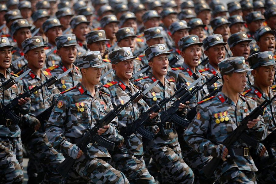 North Korean soldiers march during a military parade marking the 105th birth anniversary of the country's founding father Kim Il Sung in Pyongyang, North Korea, April 15, 2017 - Reuters file photo