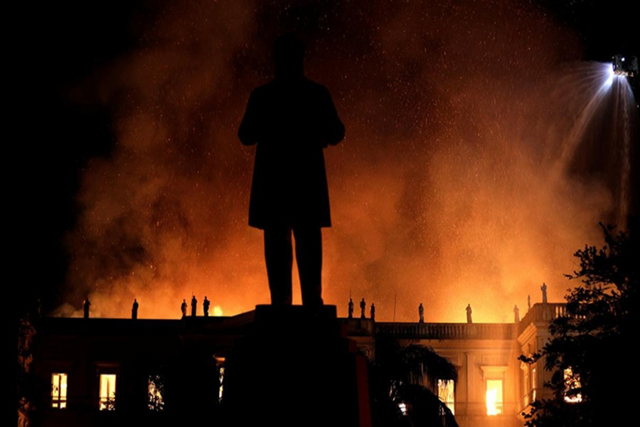 A fire blazes at the National Museum of Brazil in Rio de Janeiro, Brazil on Sunday — Reuters photo