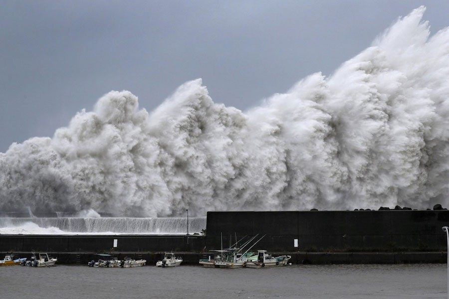 High waves triggered by Typhoon Jebi are seen at a fishing port in Aki, Kochi Prefecture, western Japan, in this photo taken by Kyodo September 4, 2018 - Mandatory credit Kyodo/via Reuters