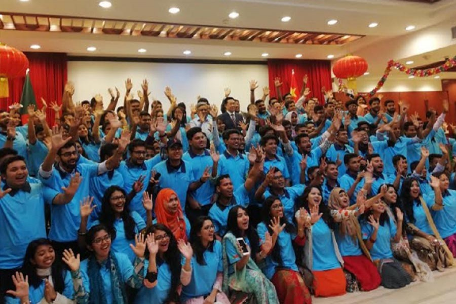 Bangladeshi students at the cultural exchange programme for visiting China in September. File photo