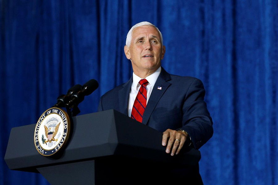 US Vice President Mike Pence speaks at the National World War II museum in New Orleans, Louisiana, US on August 23 last — Reuters