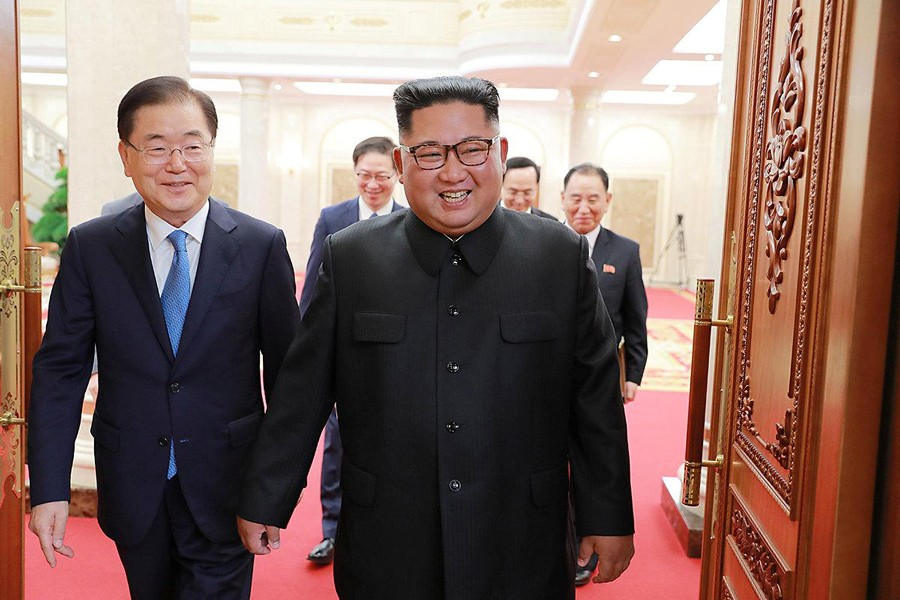 Chief of the national security office at Seoul's presidential Blue House Chung Eui-yong holding talks with North Korean leader Kim Jong Un in Pyongyang, North Korea on Wednesday— Reuters