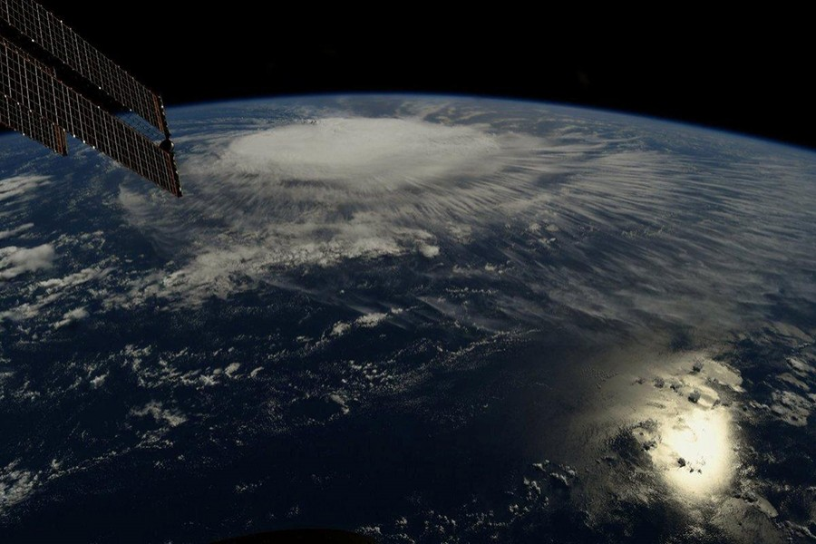 A photo taken from the International Space Station by astronaut Ricky Arnold shows Hurricane Florence over the Atlantic Ocean in the early morning hours of Thursday last — NASA handout via Reuters
