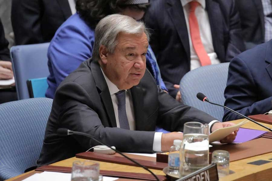 """Secretary General of the United Nations Antonio Guterres addresses the United Nations Security Council on """"mediation and its role in conflict"""", during an open debate on maintenance of international peace and security at the United Nations Headquarters in New York City, New York, US, August 29, 2018. Reuters/Files"""