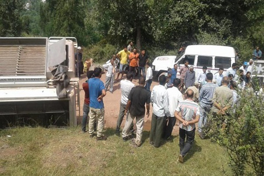 Reports said that the minibus (registration number JK17 0662) skidded off the road and rolled down into Chenab river at Thakrie in Kishtwar district. Photo: Collected