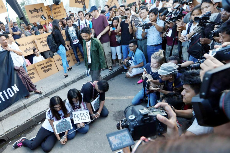 Myanmar press freedom advocates and youth activists holding a demonstration demanding the freedom of two jailed Reuters journalists in Yangon, Myanmar on Sunday— Reuters