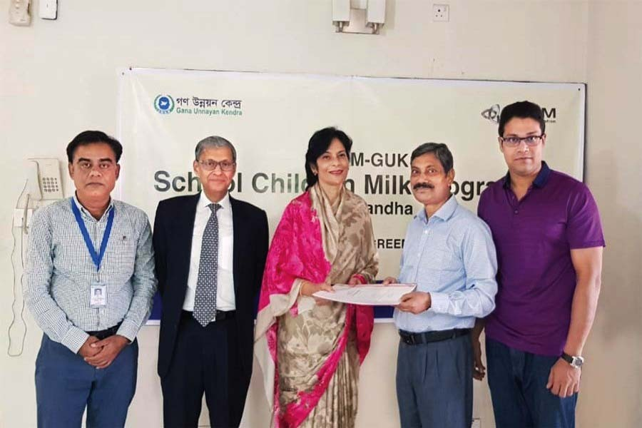 Kazi Anwar Ahmed, Ruhi M. Ahmed of BSRM Group of Companies and M. Abdus Salam, Abu Sayem Md Jannatun Nur and Khalekuzzaman of Gana Unnayan Kendra attended the signing ceremony of a new BSRM CSR project held in Dhaka.