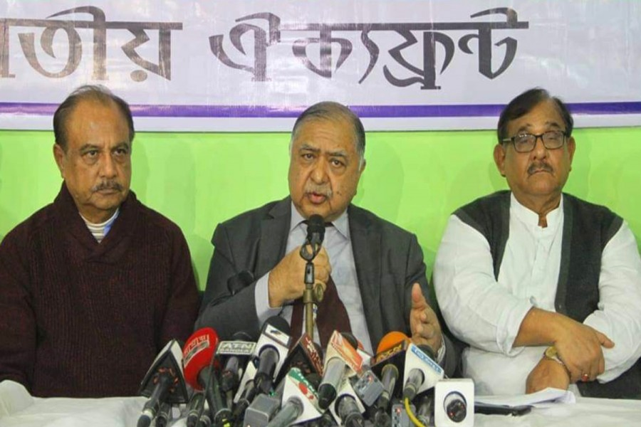 Oikyafront chief Dr Kamal Hossain speaking at a press conference at the alliance's Purana Paltan office in the capital on Sunday - UNB