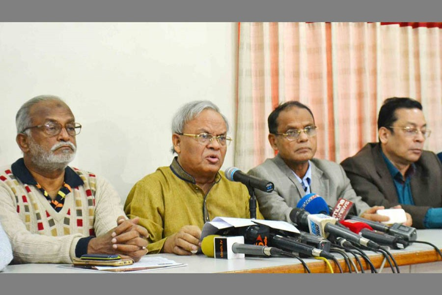 BNP Senior Joint Secretary General Ruhul Kabir Rizvi speaks at a press conference at the party's Nayapaltan central office. Photo: UNB