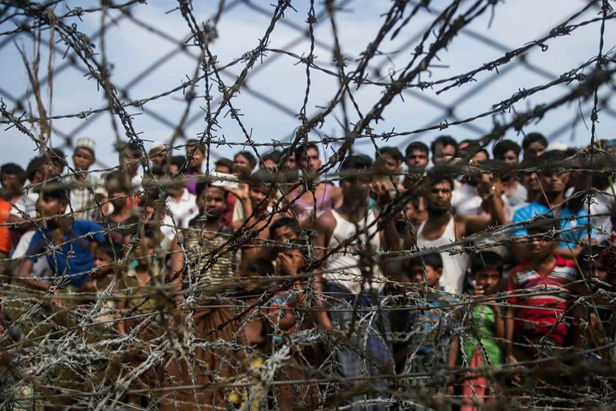 Rohingya refugees in a temporary settlement in Maungdaw, Rakhine, in April. The area is a 'no man's land' border zone between Myanmar and Bangladesh. Photo: Collected