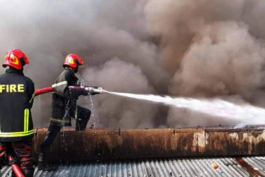 Fire at Singer warehouse in Ctg