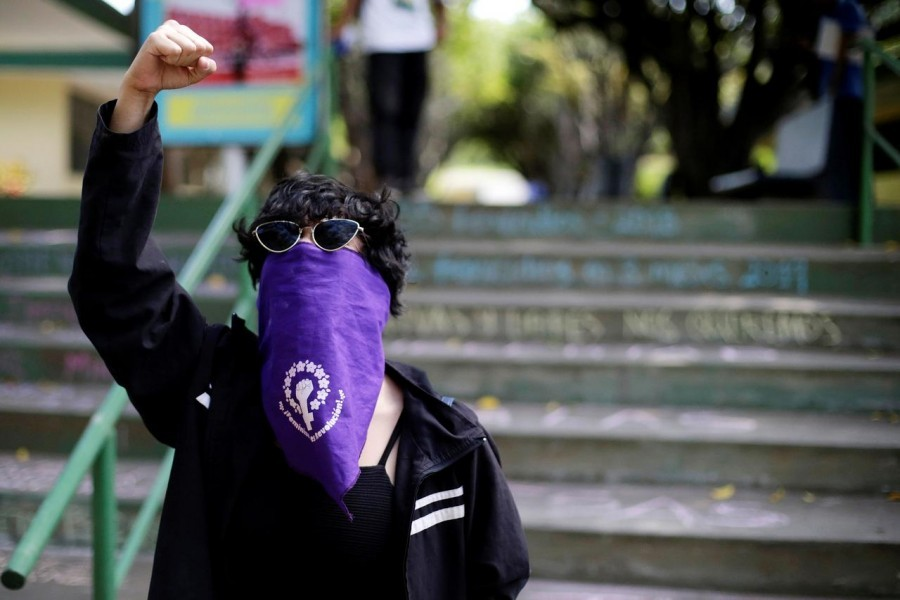 A masked demonstrator shouts slogans against Nicaraguan President Daniel Ortega's government during a protest to mark International Women's Day at Central American University (UCA) in Managua, Nicaragua March 8, 2019 - Reuters/File Photo