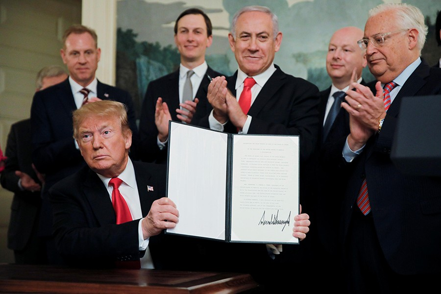 US President Donald Trump holds a proclamation recognising Israel's sovereignty over the Golan Heights at the White House in Washington, US on March 25, 2019 — Reuters photo