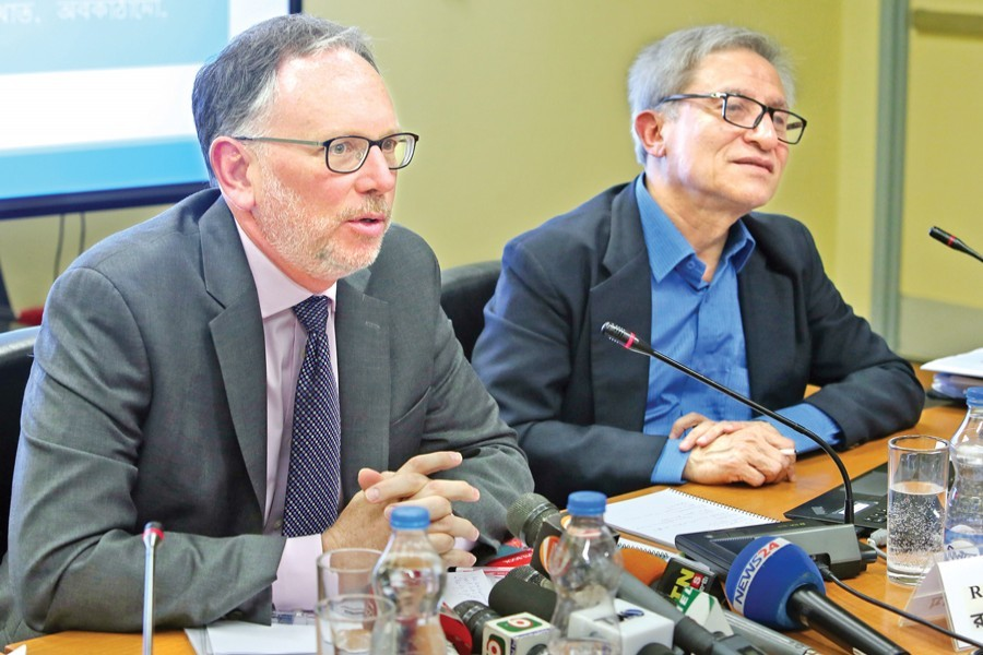 World Bank Acting Country Director Robert J. Saum presenting Bangladesh Development Update 2019 in the city on Thursday — FE photo