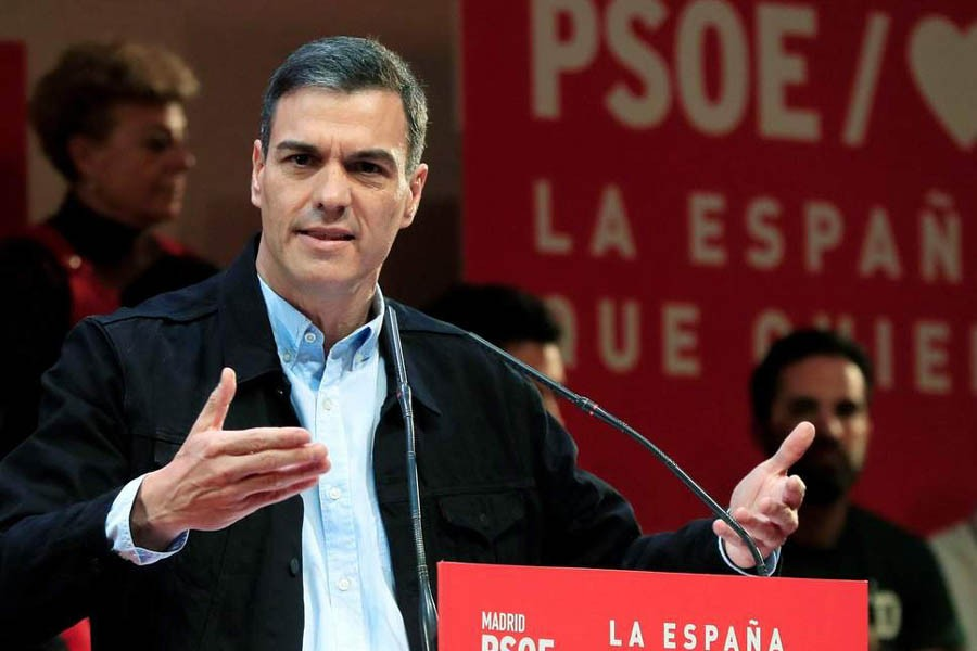 MADRID: Prime Minister Pedro Sánchez adreesing a election campaign rally— Internet