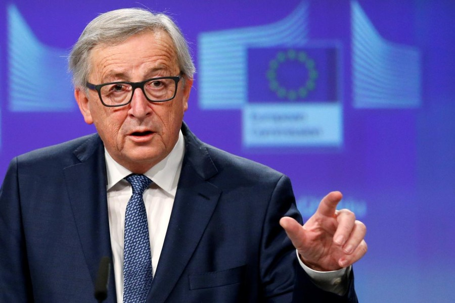 European Commission President Jean-Claude Juncker addresses a news conference at the EU Commission headquarters in Brussels, Belgium February 14, 2018 - Reuters file photo