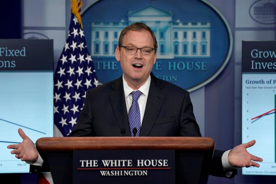 Trump economic adviser Kevin Hassett gestures as he speaks during a news briefing at the White House in Washington, US, September 10, 2018. Reuters/File Photo