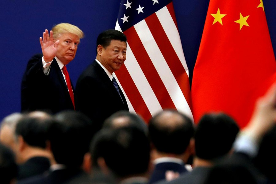 US President Donald Trump and China's President Xi Jinping meet business leaders at the Great Hall of the People in Beijing, China on November 9, 2017 — Reuters photo