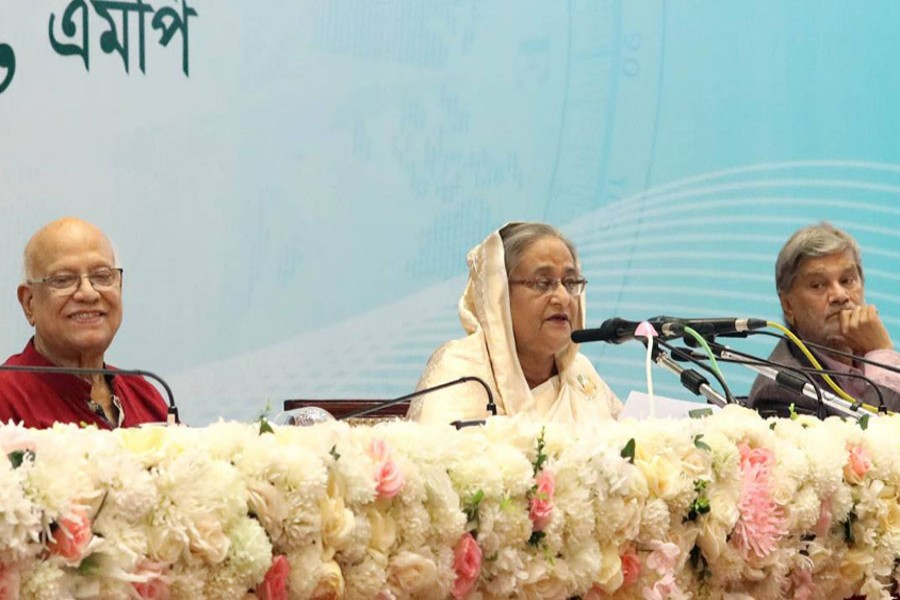 Prime Minister Sheikh Hasina briefs the media about the national budget placed in parliament on Thursday for the 2019-2020 fiscal year. Photo: PID