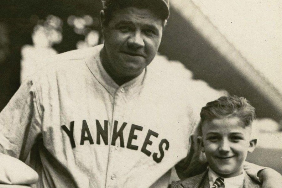 Babe Ruth, pictured in a Yankees road jersey - Courtesy of Hunt Auctions