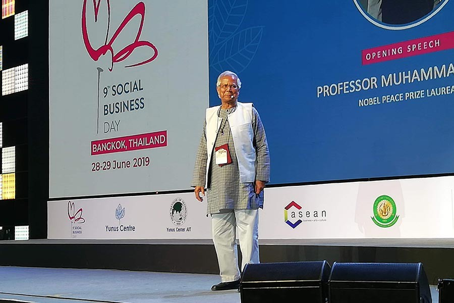 Nobel Laureate Professor Muhammad Yunus addressing the inaugural function of Ninth Social Business Day in Bangkok on Friday. —FE Photo