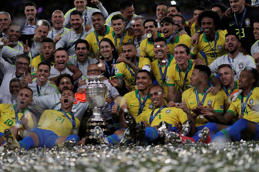Brazil players celebrate winning the Copa America with the trophy — Reuters photo