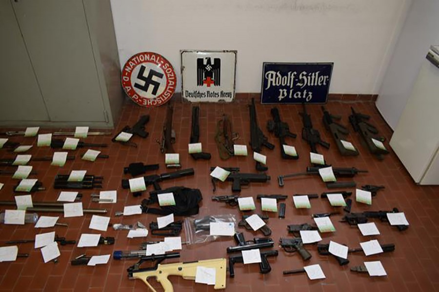 Italian Police handout shows a large arsenal of weapons that they say they seized in raids on neo-Nazi sympathisers, in Turin, Italy on July 15, 2019. Polizia di Stato/Handout via Reuters