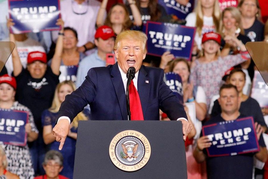 """US President Donald Trump speaks at a """"Keep America Great"""" campaign rally in Greenville, North Carolina, US on July 17, 2019 — Reuters photo"""