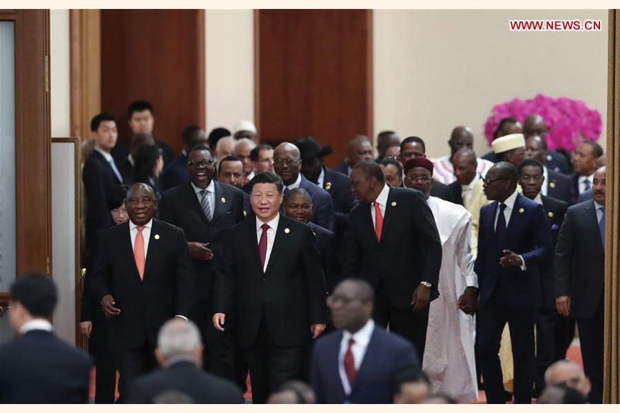 Chinese President Xi Jinping and African leaders attending the two-phase roundtable meeting in Beijing on September  04, 2018: Two important documents - the Beijing Declaration and the Beijing Action Plan (2019-2021) - were passed on Tuesday at the 2018 Beijing Summit of the Forum on China-Africa Cooperation (FOCAC).The two outcome documents were adopted at the two-phase roundtable meeting, which was jointly chaired by Chinese President Xi Jinping and President Cyril Ramaphosa of South Africa.  —Photo:  Xinhua