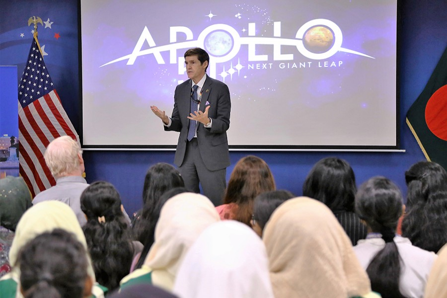 US Ambassador to Bangladesh Earl R Miller addressing a programe at the American Center on Tuesday