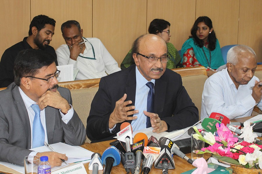 The Bangladesh Bank Governor Fazle Kabir speaking at a press conference after formally unveiling the monetary policy statement (MPS) for fiscal year 2019-20 — Focus Bangla photo
