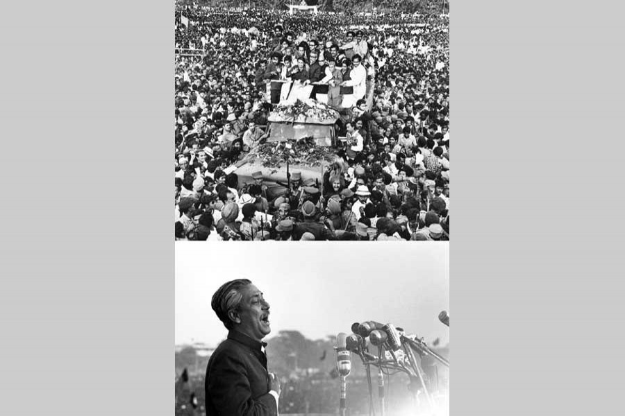 (Top) Hundreds of thousands of people welcome  Bangabandhu Sheikh Mujibur Rahman on his home-coming on January 10, 1972; (bottom) emotion takes over him while addressing at the Suhrawardy Udyan. - Photo courtesy: Rashid Talukder (top); Marilyn Silverstone (bottom) via the Internet