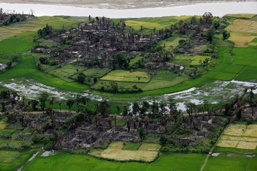Aerial view of a burned Rohingya village near Maungdaw, north of Rakhine State, Myanmar, September 27, 2017. Reuters/Files