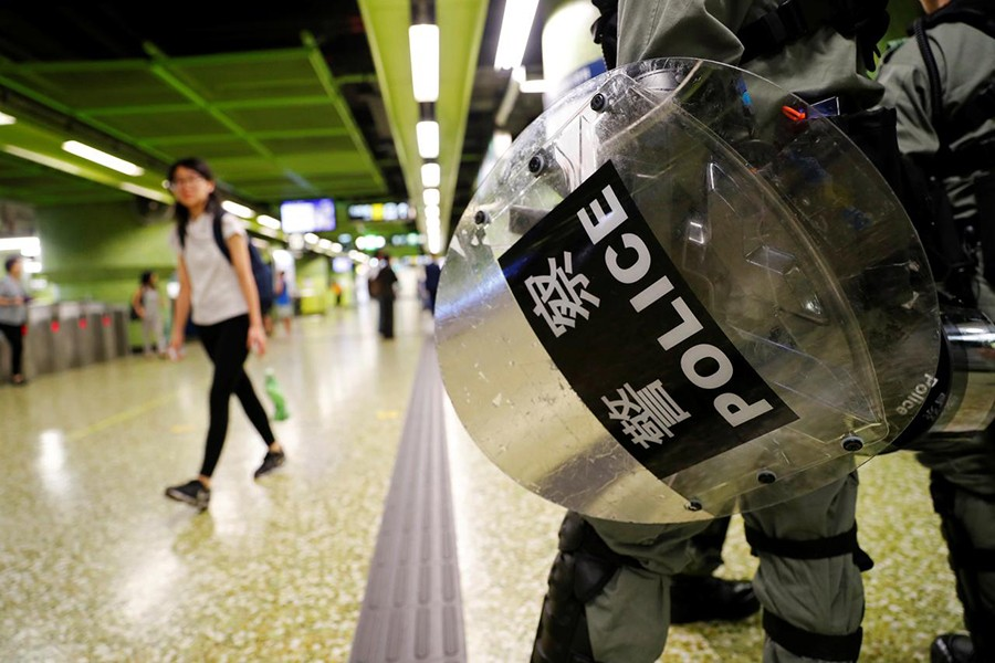A riot police holds his shield at a Mass Transit Railway (MTR) station in Hong Kong, China on September 2, 2019 — Reuters photo