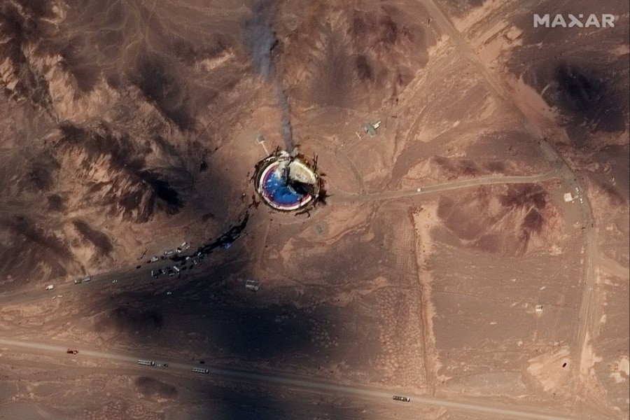 This satellite image from Maxar Technologies shows a fire at a rocket launch pad at the Imam Khomeini Space Center in Iran's Semnan province, Thursday, Aug. 29, 2019. Satellite images released Thursday show the smoldering remains of a rocket at a Iran space center that was to conduct a U.S.-criticized satellite launch. (Satellite image ©2019 Maxar Technologies via AP)