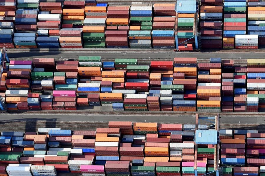 Aerial view of containers at a loading terminal in the port of Hamburg, Germany 	— Reuters