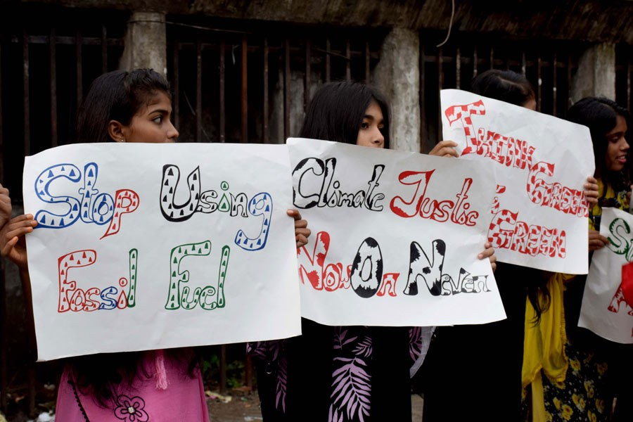 Youth march Dhaka streets demanding measures against climate change