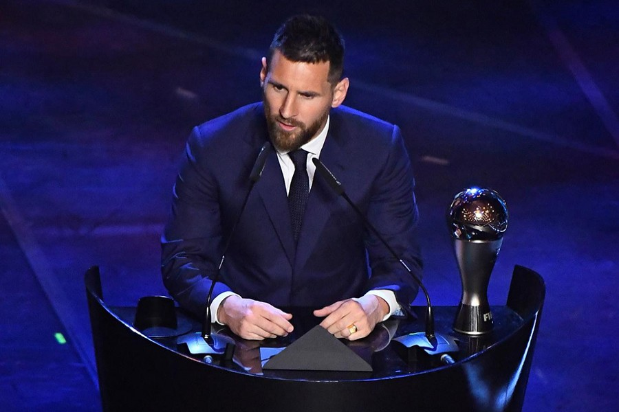 FC Barcelona's Lionel Messi speaks after winning the Best FIFA Men's player award — Reuters photo