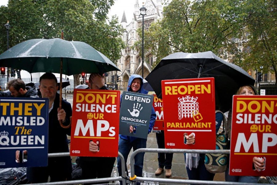 Demonstrators protest outside the Supreme Court in London, Britain on September 24, 2019 — Reuters photo