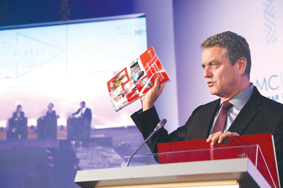 Roberto Azevêdo, Director General of World Trade Organization (WTO) speaking at the WTO Public Forum on Wednesday in Geneva where 'Word Trade Report 2019: The future of services trade' formally launched — WTO Photo