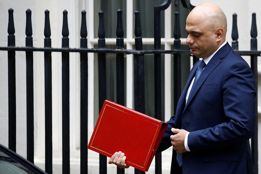 Chancellor of the Exchequer Sajid Javid leaves Downing Street in London, Britain on October 3, 2019 — Reuters/Files