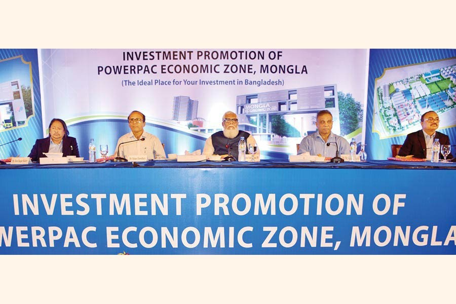 Prime Minister's Private Industry and Investment Adviser Salman F Rahman (C), Principal Coordinator of SDG Affairs at the Prime Minister's Office Md Abul Kalam Azad (2nd from R) and BEZA Executive Chairman Paban Chowdhury (2nd from L) seen at a programme 'Invest Promotion of Powerpac Economic Zone, Mongla' at a city hotel on Monday