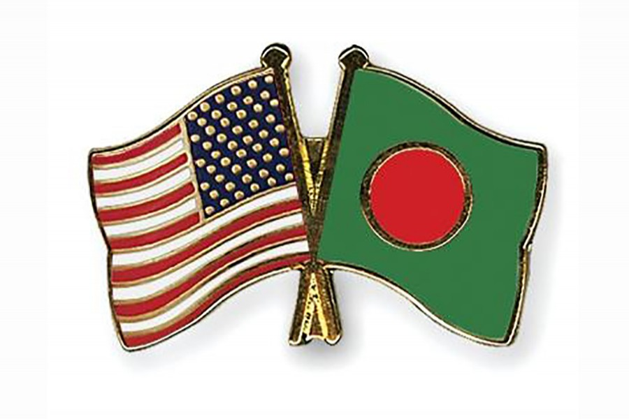 Flags of Bangladesh and the United States of America are seen cross-pinned in this photo symbolising friendship between the two nations