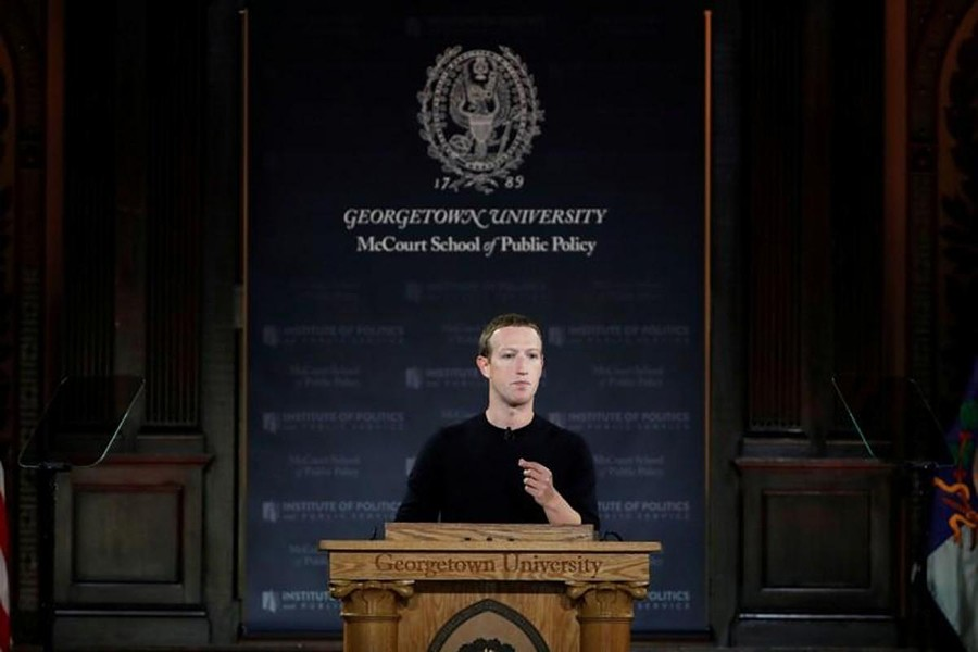 Facebook Chairman and CEO Mark Zuckerberg addresses the audience at a forum hosted by Georgetown University's Institute of Politics and Public Service (GU Politics) and the McCourt School of Public Policy in Washington, US on October 17, 2019 — Reuters photo
