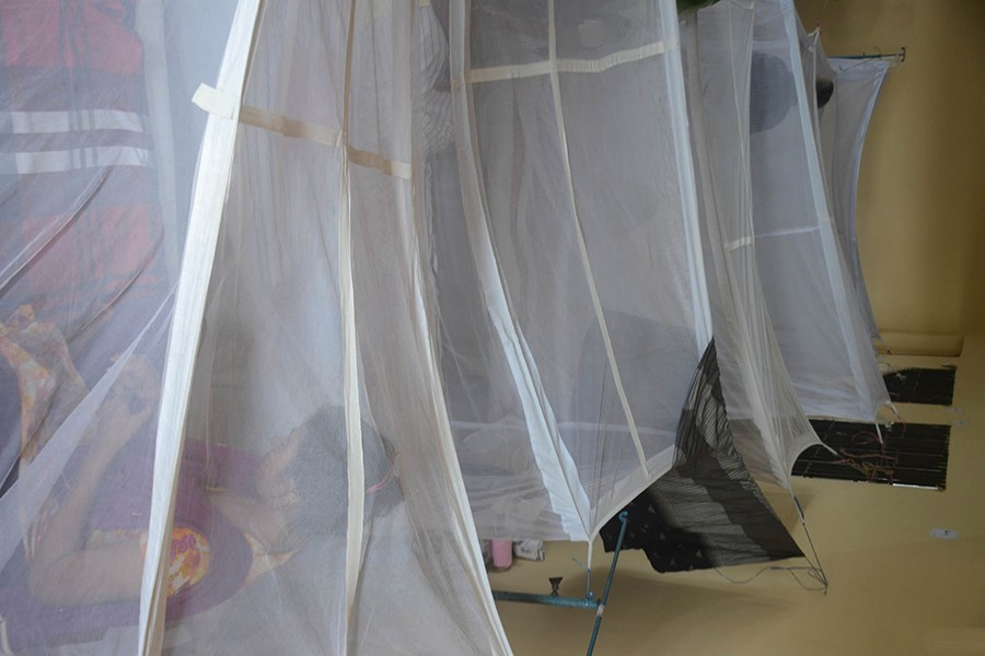 Mosquito nets have been put up for dengue patients at a special ward recently opened at the 4th floor of Khulna Medical College Hospital — Focus Bangla/Files