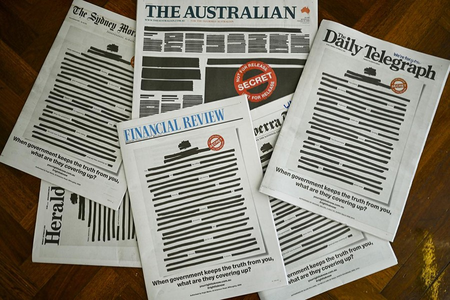 "Front pages of major Australian newspapers show a 'Your right to know"" campaign, in Canberra, Australia on October 21, 2019 — AAP Image via REUTERS"